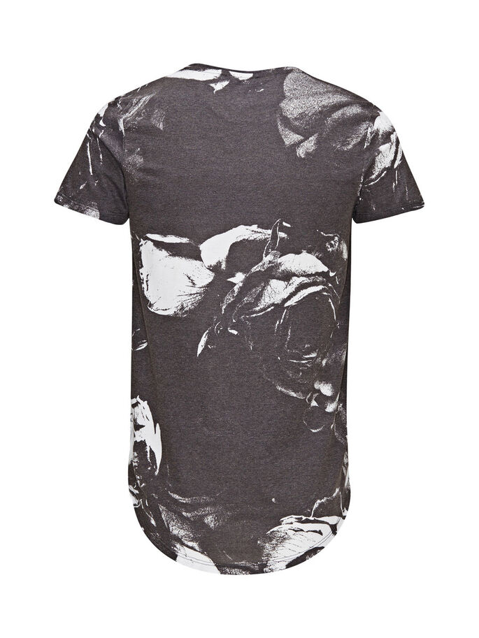 FLORAL PRINT T-SHIRT, Black, large