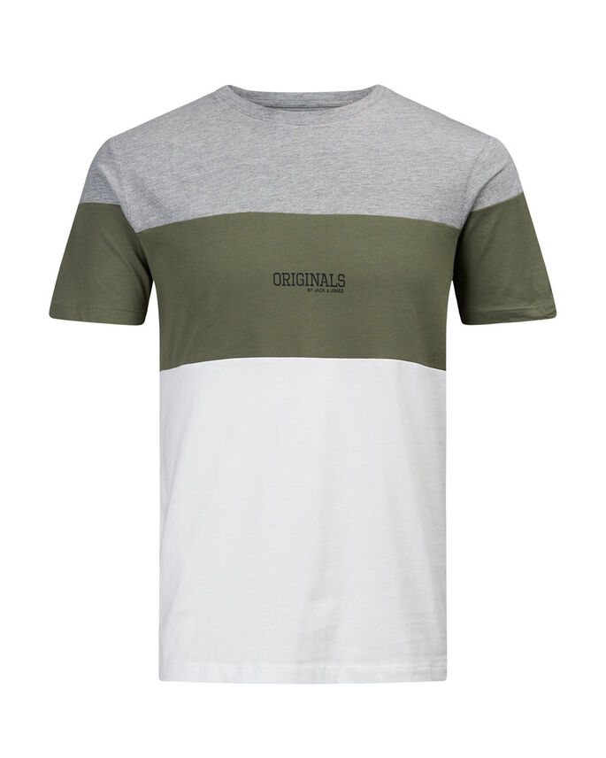 COLOURBLOCK T-SHIRT, Light Grey Melange, large