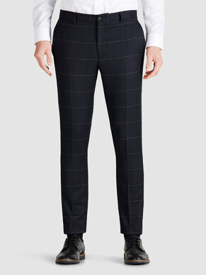 WOOL BLEND WINDOW CHECK TROUSERS