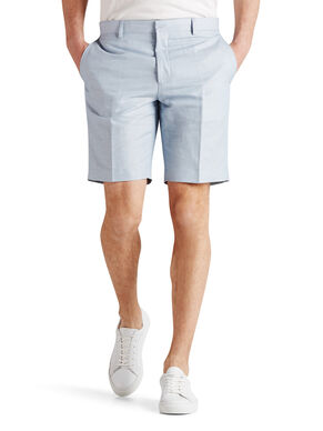 LINEN BLEND LIGHT BLUE TAILORED SHORTS