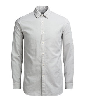 EFFETTO FIAMMATO BUTTON-UNDER CAMICIA A MANICHE LUNGHE