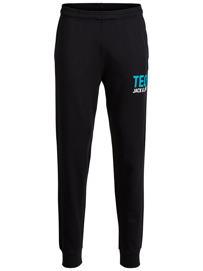 PRINTED SWEAT PANTS, Black, large