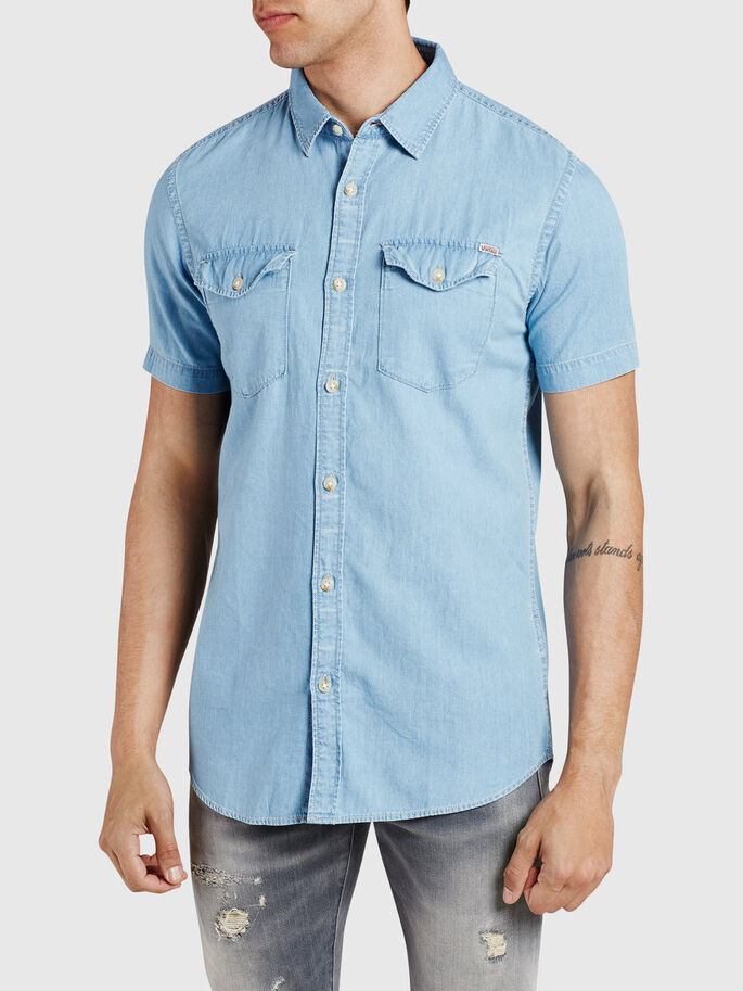 KLASSISCHES KURZARMHEMD, Light Blue Denim, large