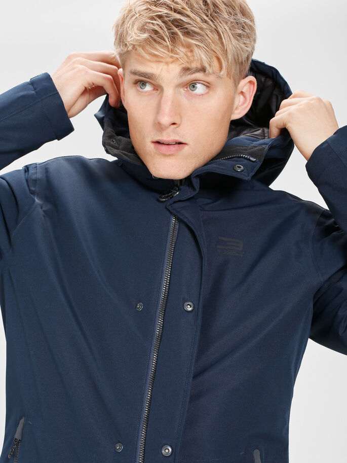 PERFORMANCE PARKA COAT, Navy Blazer, large