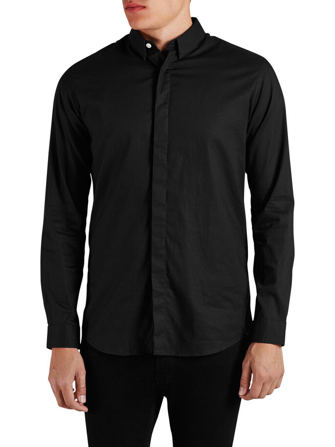 LONG FIT CASUAL OVERHEMD, Black, large