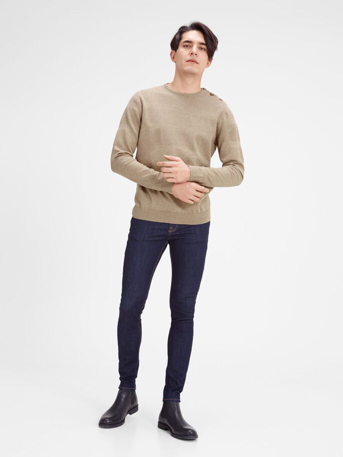 STRUCTURED CREW NECK KNITTED PULLOVER, Camel, large