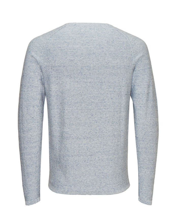 MELANGE CREWNECK KNITTED PULLOVER, China Blue, large