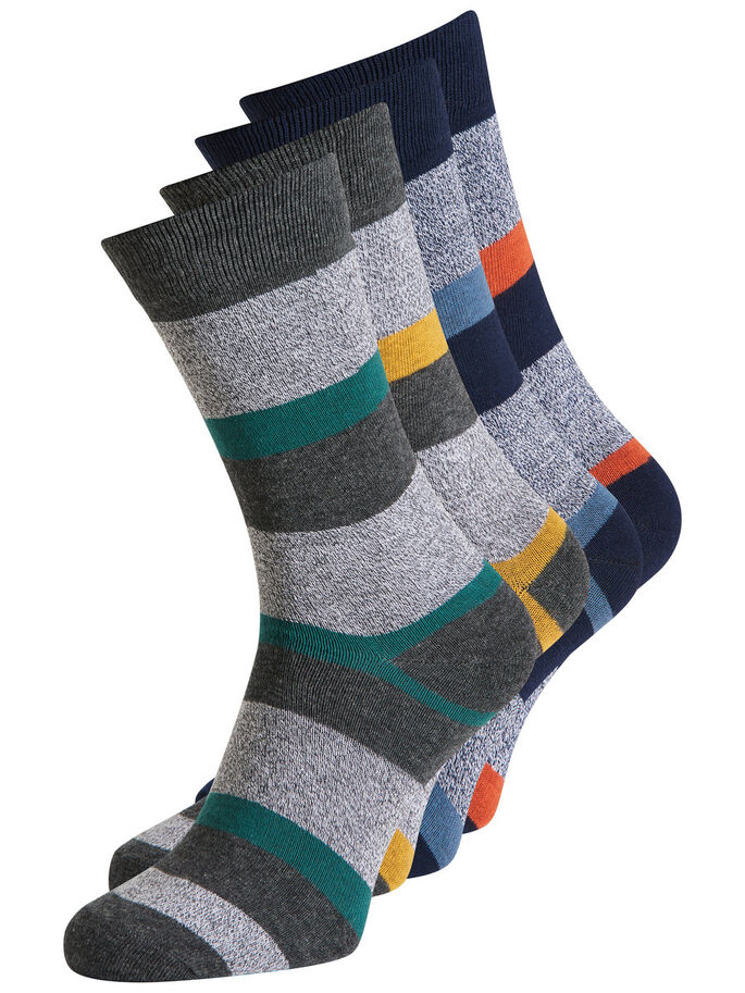 4-PACK SOCKS, Dark Grey Melange, large
