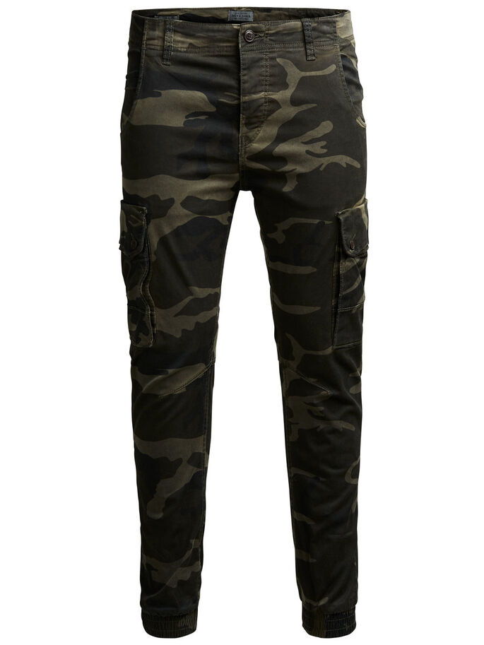 PAUL WARNER AKM 280 CAMO CARGO PANTS, Green Eyes, large