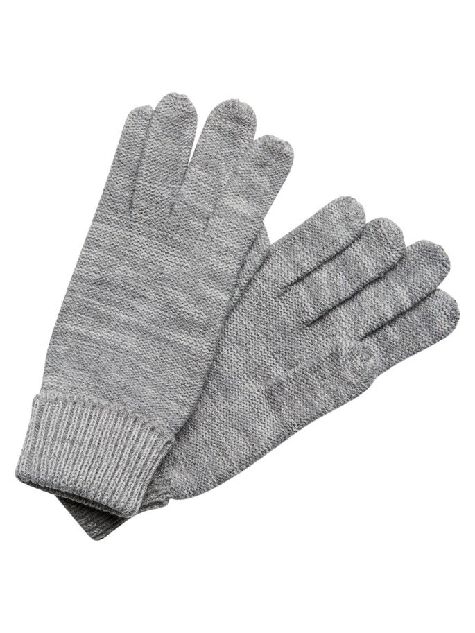 STRICK- HANDSCHUHE, Light Grey Melange, large