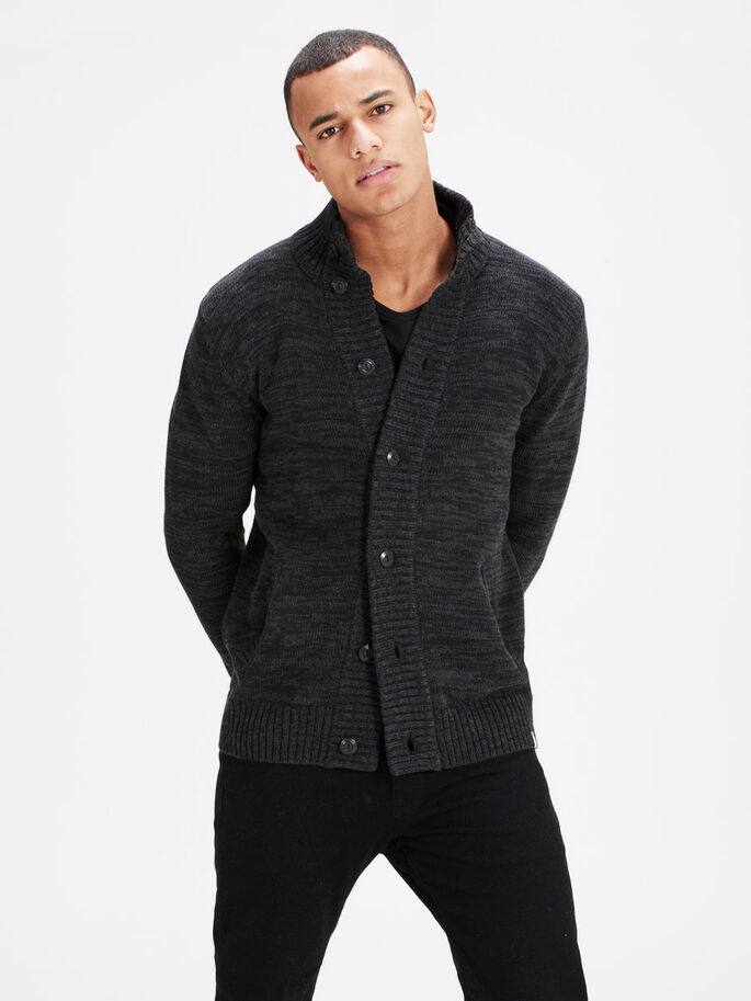 HIGH NECK CARDIGAN, Black, large