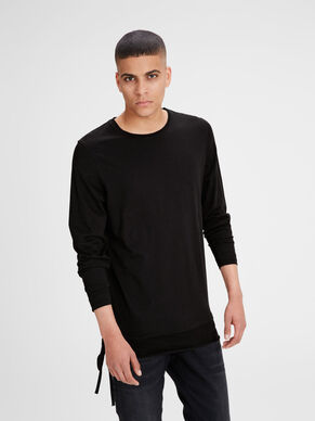 PLAIN SLIM FIT LANGÆRMET T-SHIRT