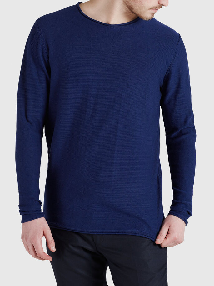 CLASSIC O-NECK PULLOVER, Blue Depths, large