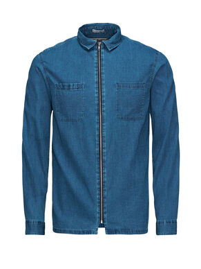 ZIP DENIM LONG SLEEVED SHIRT