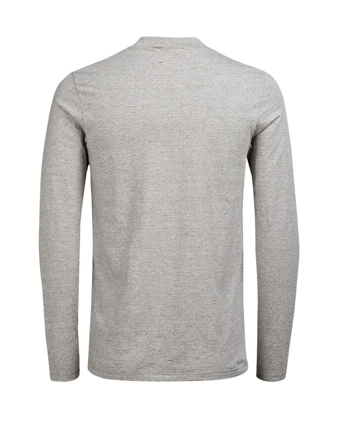 HÖGHALSAD LÅNGÄRMAD T-SHIRT, Light Grey Melange, large