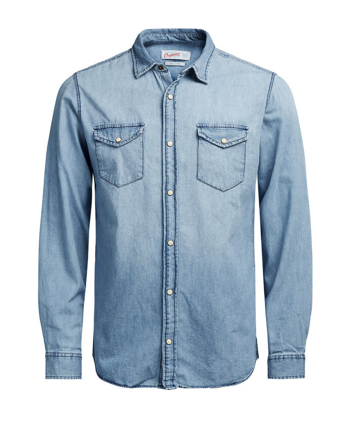 DENIM LONG SLEEVED SHIRT, Light Blue Denim, large