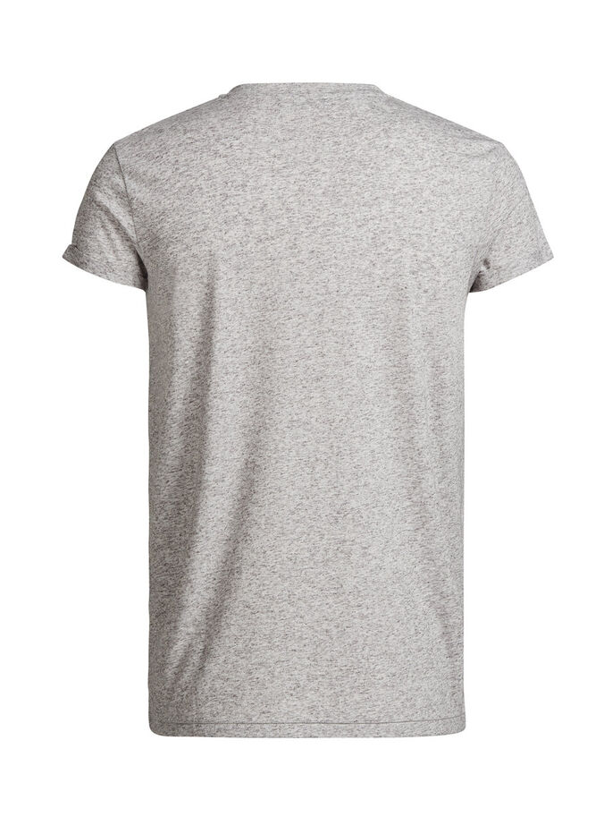 LINEN BLEND T-SHIRT, Light Grey Melange, large