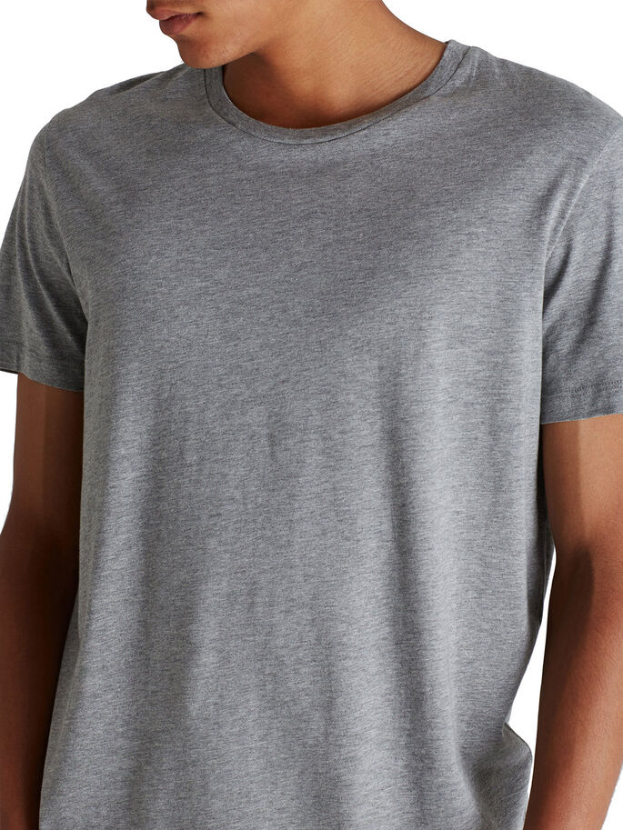 SIMPLE LONG FIT T-SHIRT, Light Grey Melange, large
