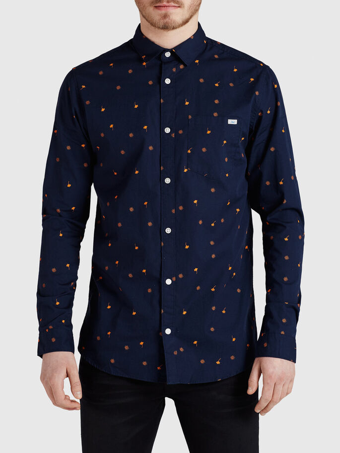 ALL-OVER PRINTED CASUAL SHIRT, Navy Blazer, large