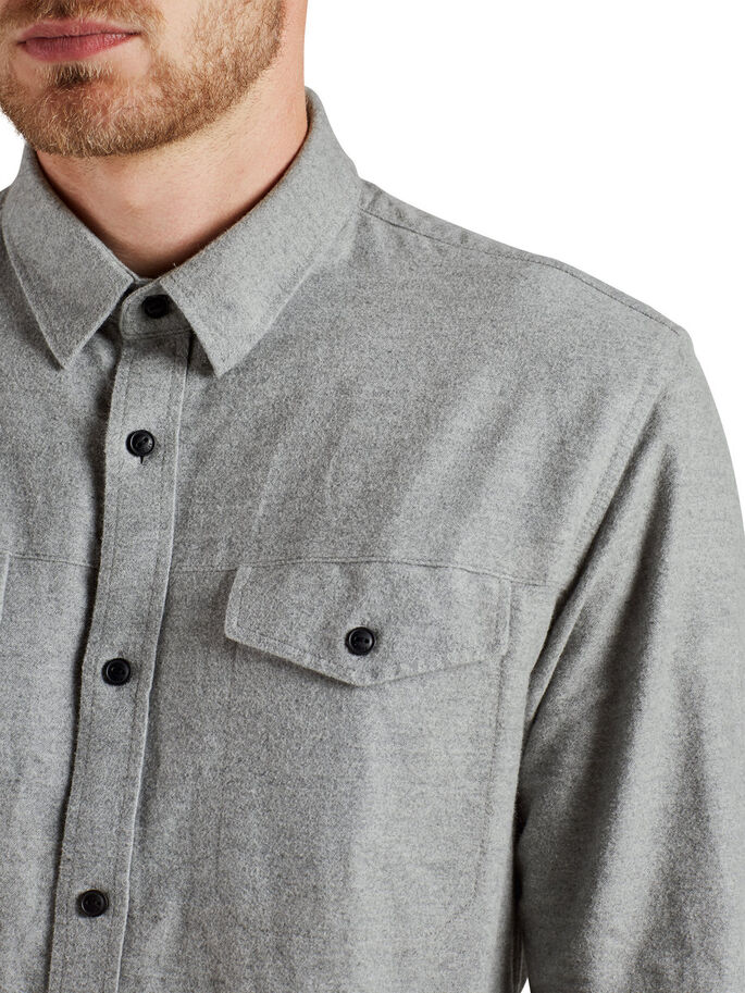 CLASSIC LONG SLEEVED SHIRT, Light Grey Melange, large