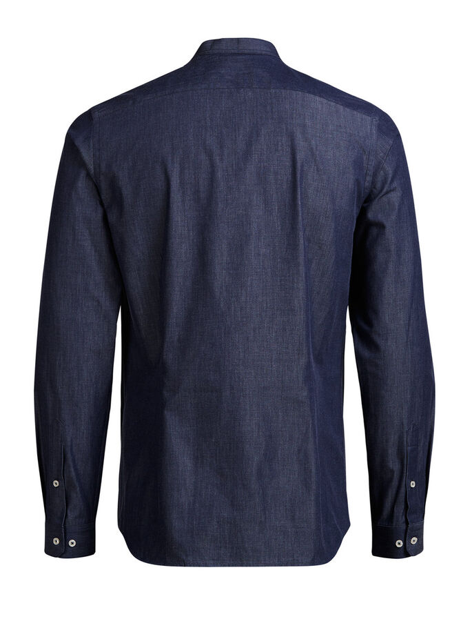 BAND COLLAR LONG SLEEVED SHIRT, Navy Blazer, large