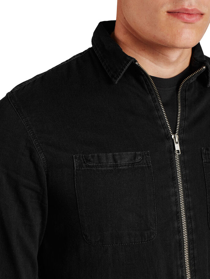 ZIP DENIM LONG SLEEVED SHIRT, Black Denim, large