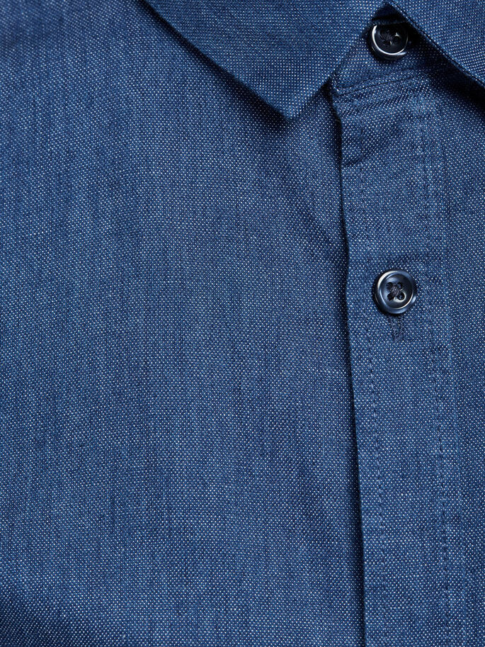 KLASSIEK OVERHEMD MET LANGE MOUWEN, Dark Blue Denim, large