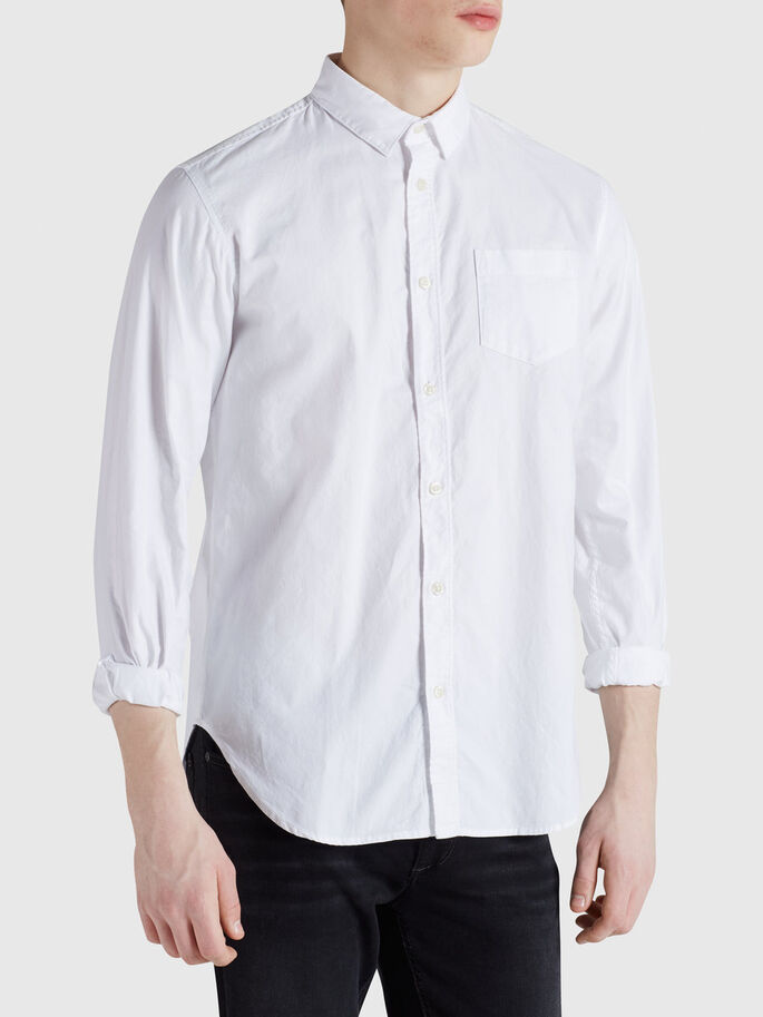 CLASSIC ONE POCKET CASUAL SHIRT, White, large