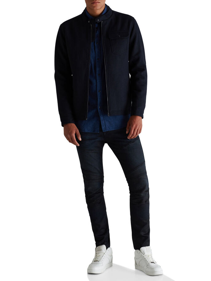 WOOL BLEND HERRINGBONE JACKET, Dark Navy, large