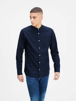 BAND COLLAR LONG SLEEVED SHIRT
