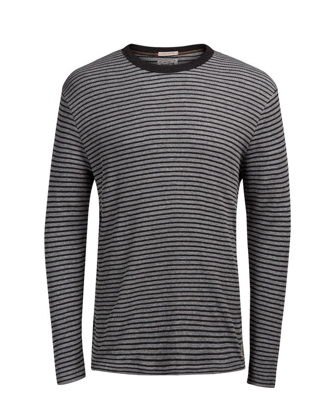 STRIPED LONG-SLEEVED T-SHIRT, Dark Grey Melange, large