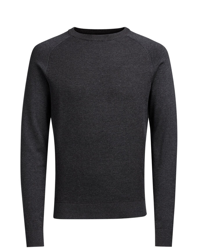 RAGLAN STRIKKET PULLOVER, Dark Grey Melange, large