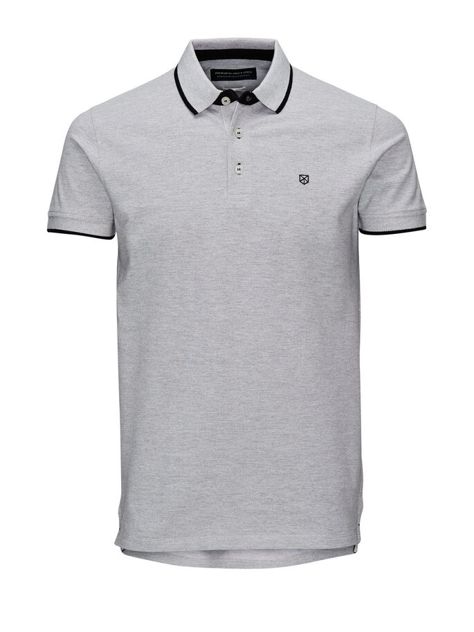 BAUMWOLLPIKEE POLOSHIRT, Light Grey Melange, large
