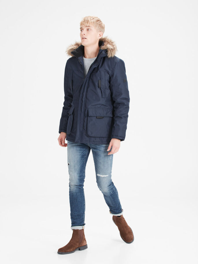 PADDED PARKA COAT, Navy Blazer, large