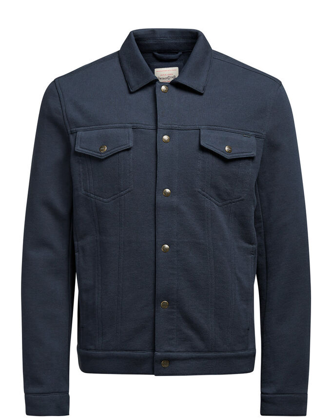 SWEAT TRUCKER JACKET, Dark Navy, large