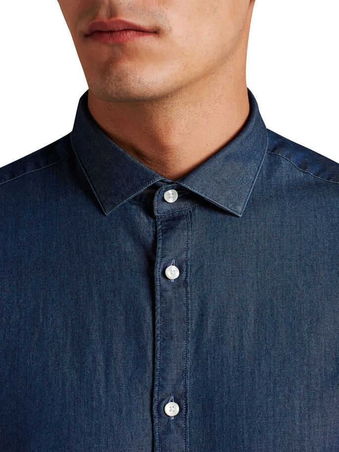 DENIM SPREAD COLLAR LONG SLEEVED SHIRT, Dark Blue Denim, large
