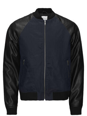 FAUX LEATHER SLEEVED BOMBER JACKET