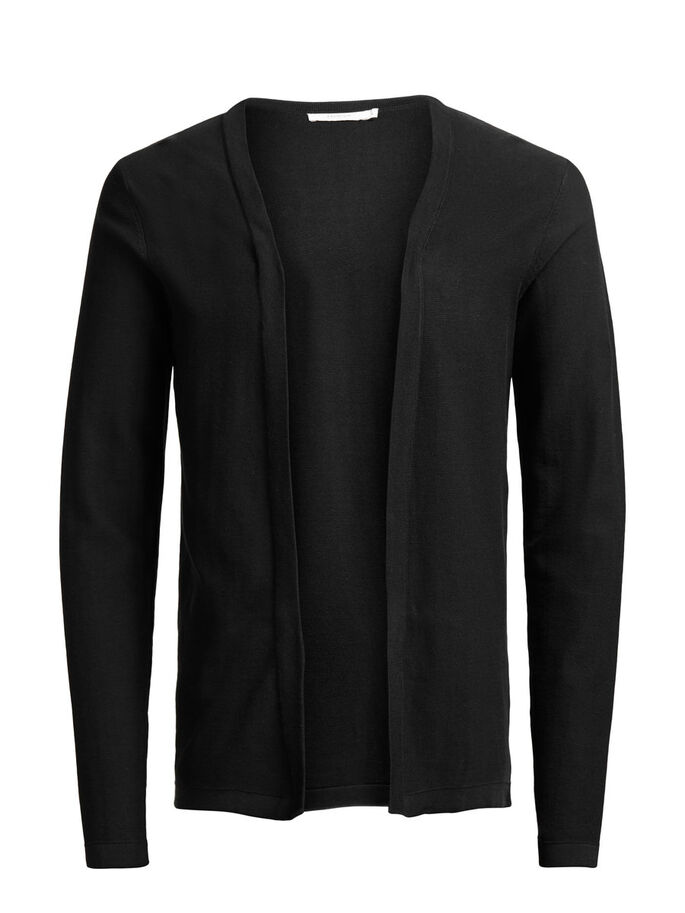 BUTTONLESS CARDIGAN, Black, large