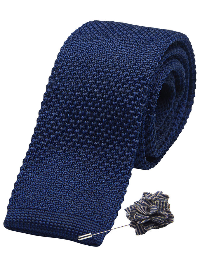TIE & LAPEL PIN GIFT SET, Navy Blazer, large