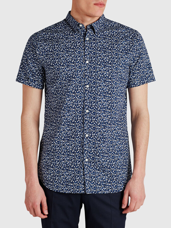 MICRO-FLORAL PRINT SHORT SLEEVED SHIRT, Navy Blazer, large