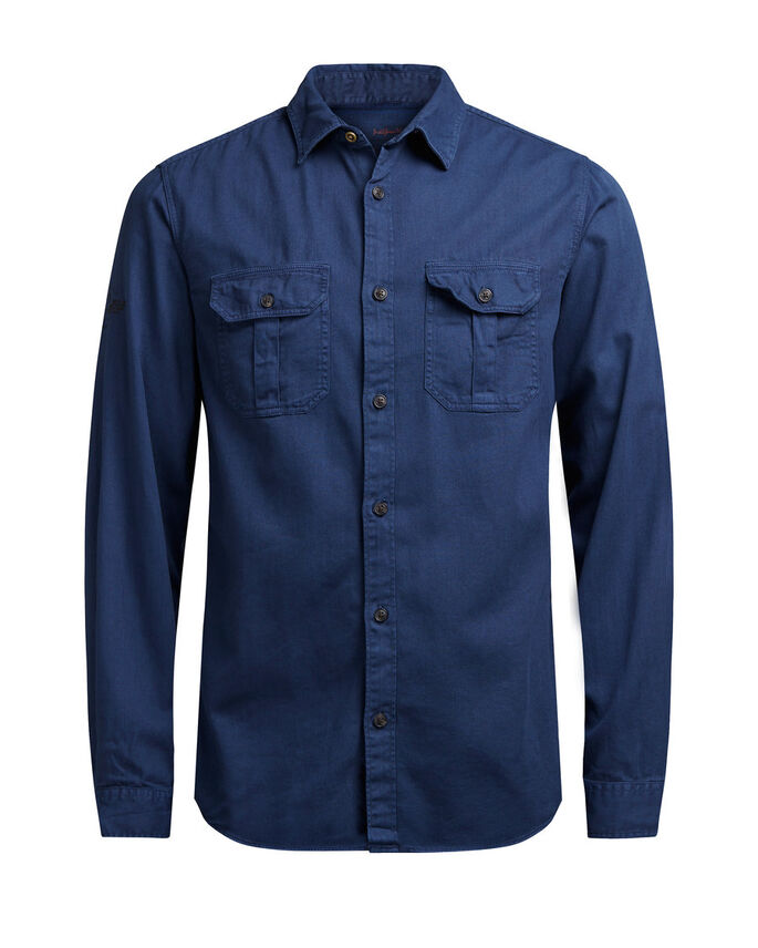 MILITARY STYLED CASUAL SHIRT, Mood Indigo, large