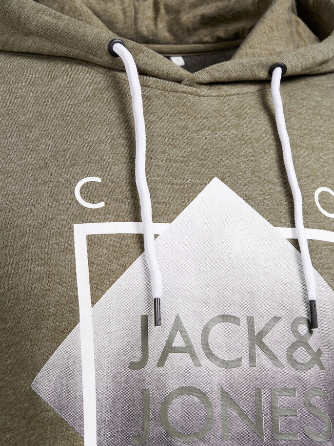 GRAFISCHE HOODIE, Dusty Olive, large