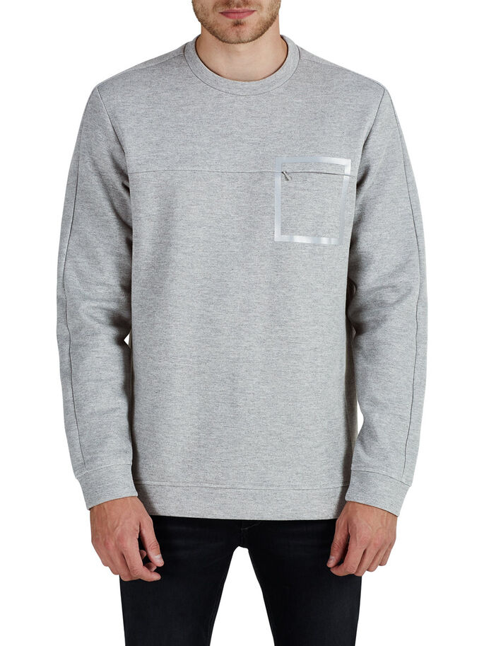 GRAFIK- SWEATSHIRT, Light Grey Melange, large