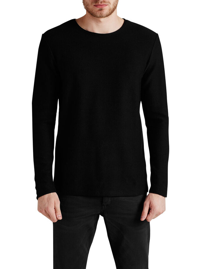 RÅ LANGÆRMET T-SHIRT, Black, large