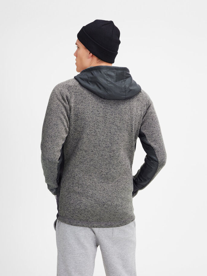 HOODED FLEECE JACKET, Grey Melange, large