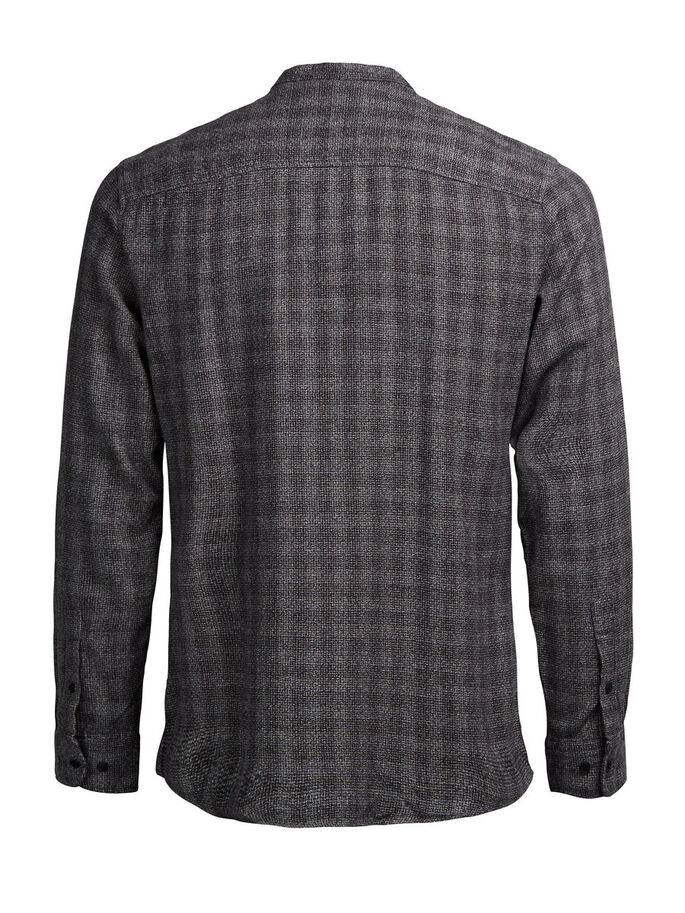 CHECK BAND COLLAR LONG SLEEVED SHIRT, Dark Grey, large