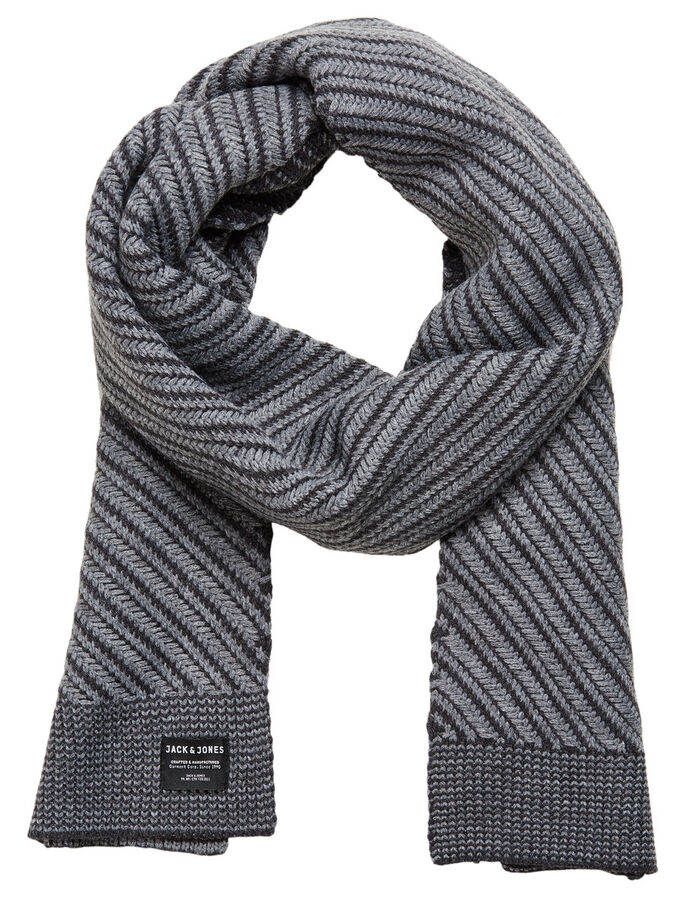 KNITTED SCARF, Dark Grey Melange, large