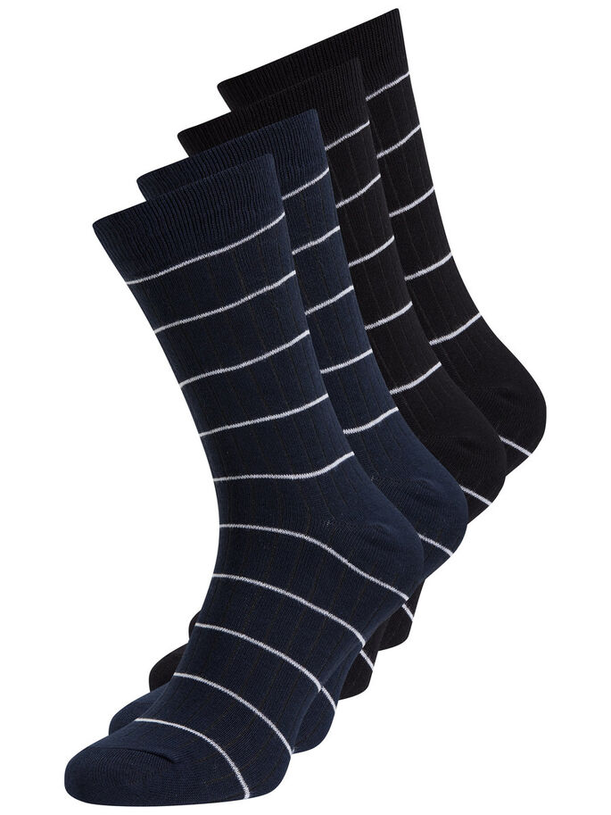 STRIPED SOCKS, Black, large