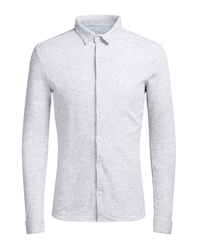 JERSEY LANGERMET SKJORTE, Light Grey Melange, large