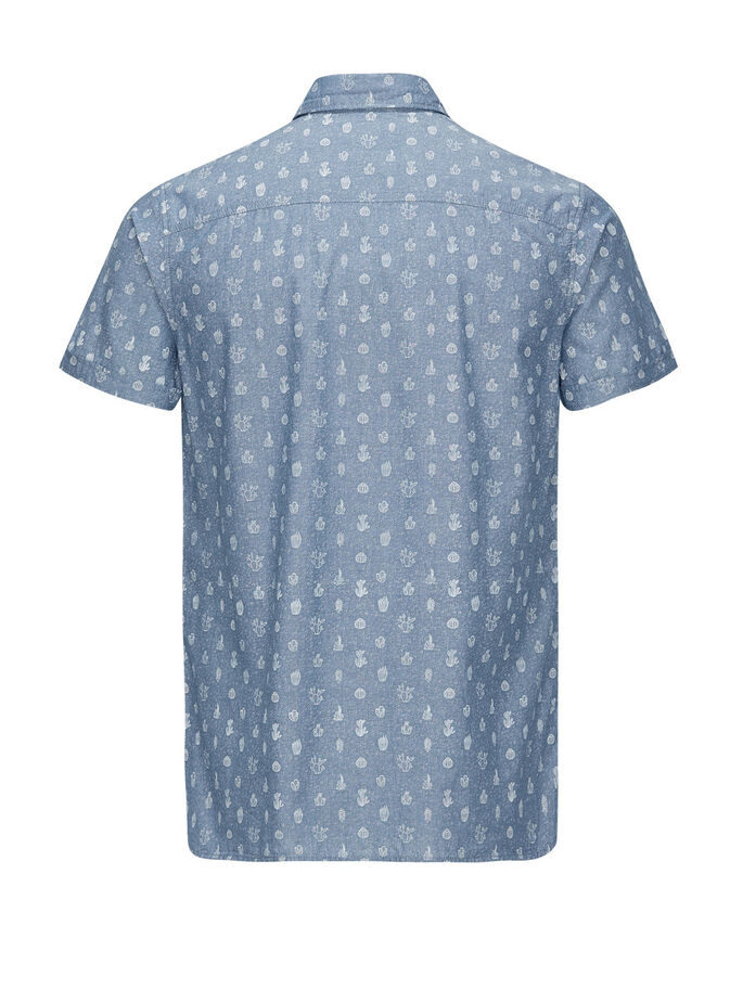 ALL-OVER PRINTED SHORT SLEEVED SHORT SLEEVED SHIRT, Light Blue Denim, large